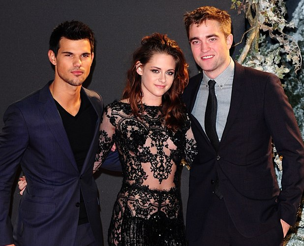 Taylor Lautner, Kristen Stewart and Robert Pattinson arriving for the premiere of The Twilight Saga: Breaking Dawn Part 2 at the Empire and Odeon Leicester Square, London