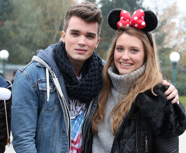 Josh Cuthbert of Union J and Ella Henderson The X Factor finalists enjoy a day out at Disneyland Paris Paris, France