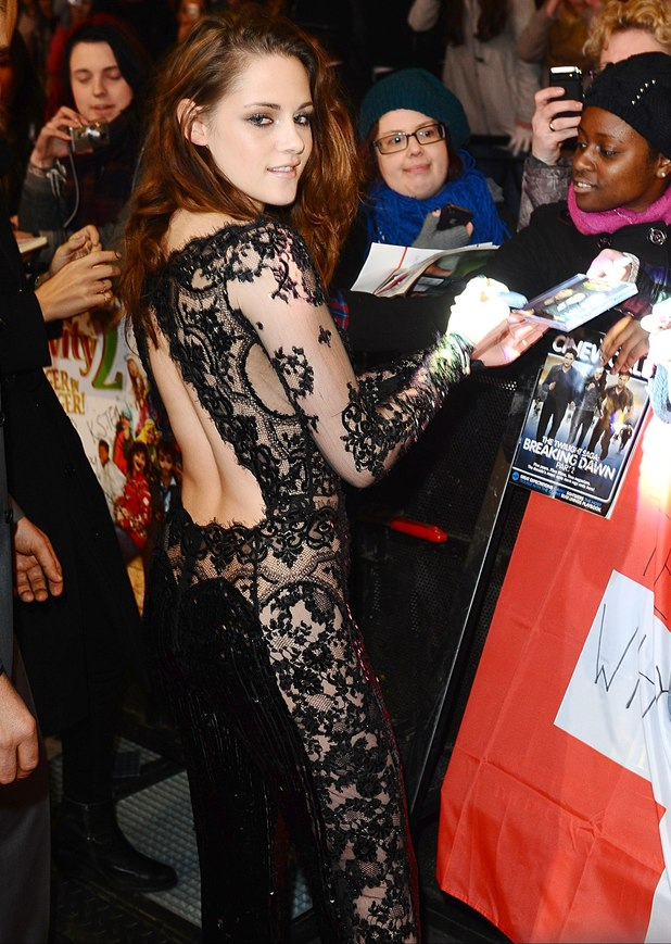 Kristen Stewart arriving for the premiere of The Twilight Saga: Breaking Dawn Part 2 at the Empire and Odeon Leicester Square, London