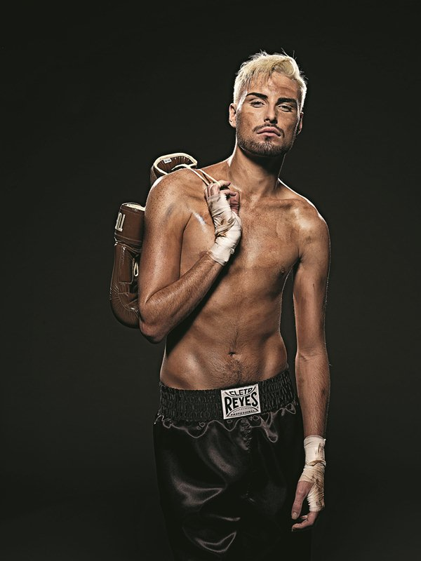 X Factor Rylan Clark poses as boxer for Now Magazine.