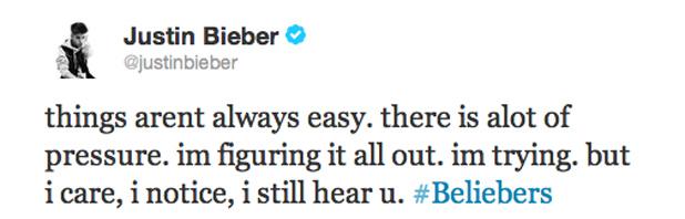 Justin Bieber Tweet 16/11/2012