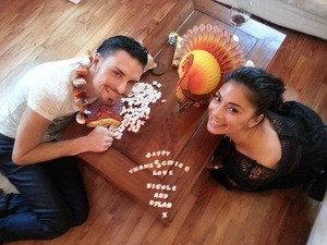 The X Factor's Rylan Clark and Nicole Scherzinger celebrate Thanksgiving 22.11.12