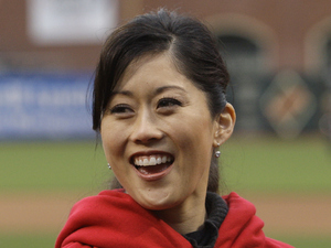 Olympic gold medalist Kristi Yamaguchi before a baseball game between the Colorado Rockies and the San Francisco Giants in San Francisco, Friday, June 3, 2011.