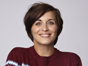 Vicky McClure models a Christmas jumper for 'Save the Children's 2012 Christmas Jumper Day'.