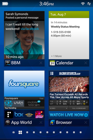 Blackberry 10 homescreen