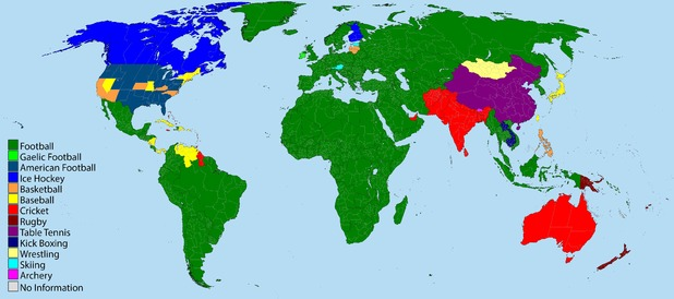 Colour-coded sports map