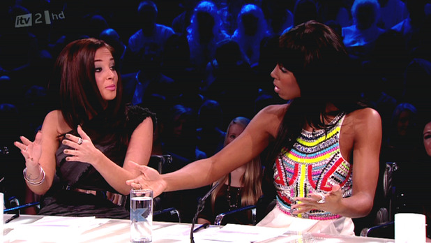 Judges Tulisa Contostavlos and Kelly Rowland disagree on 'The Xtra Factor' . Shown on ITV2 HD England -