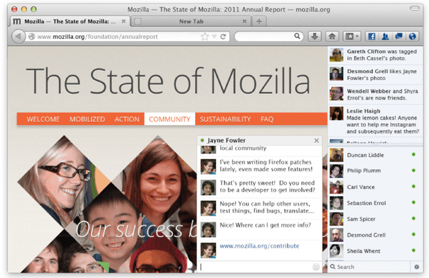 Firefox update integrates Facebook Messenger - screenshot
