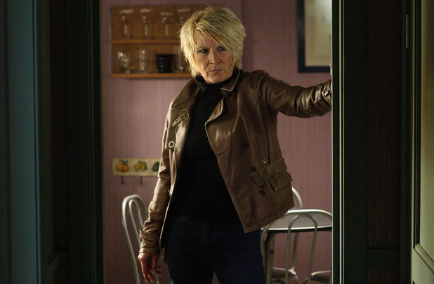 Shirley arrives back in Albert Square.