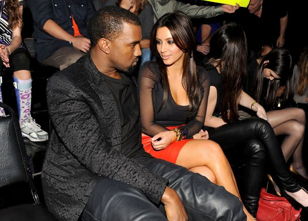 Kim Kardashian and Kanye West at X Factor