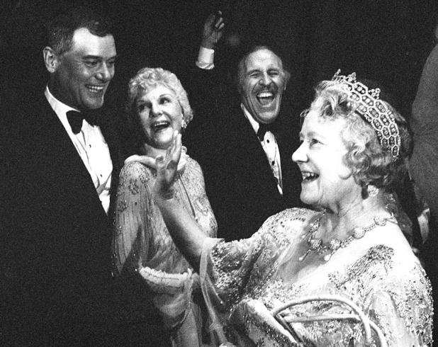 The Queen Mother tries to find out 'Who Shot JR?' when she meets Larry Hagman at The royal Variety Performance in 1980.