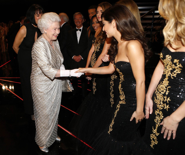 The Queen, Girls Aloud, Cheryl Cole, after the Royal Variety Performance at the Royal Albert Hall in London 2012