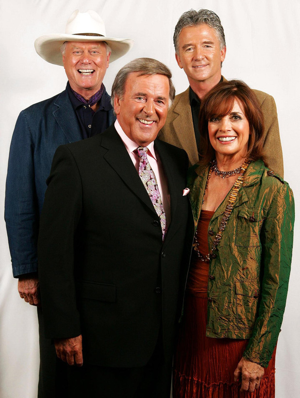 Larry Hagman, Patrick Duffy and Linda Gray reunite with Sir Terry Wogan in 2006.