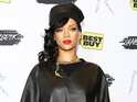 Rihanna attends Unapologetic album launch head-to-toe in leather.