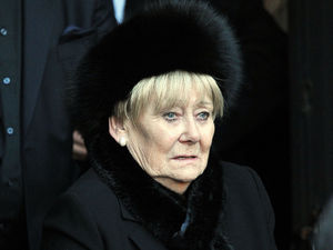 Retired actress Liz Dawn, who played Vera Duckworth, in Coronation Street, leaves Albion United Reformed church, in Ashton Under Lyne, following the funeral of Coronation Street star Bill Tarmey, who played the soap's Jack Duckworth for three decades.