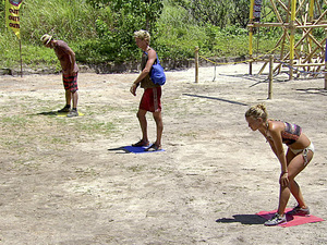 """Hell Hath Frozen Over"" - Jonathan Penner, Carter Williams and Abi-Maria Gomes line up before the next leg of the Immunity Challenge during the eleventh episode of Survivor: Philippines"