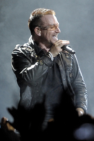 U2's Bono performs at the Camp Nou Stadium in Barcelona, Spain, Tuesday, June 30, 2009.