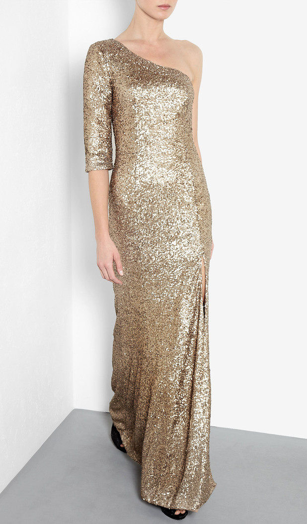 Itala Ocean Asymmetric Sequin Maxi Gown