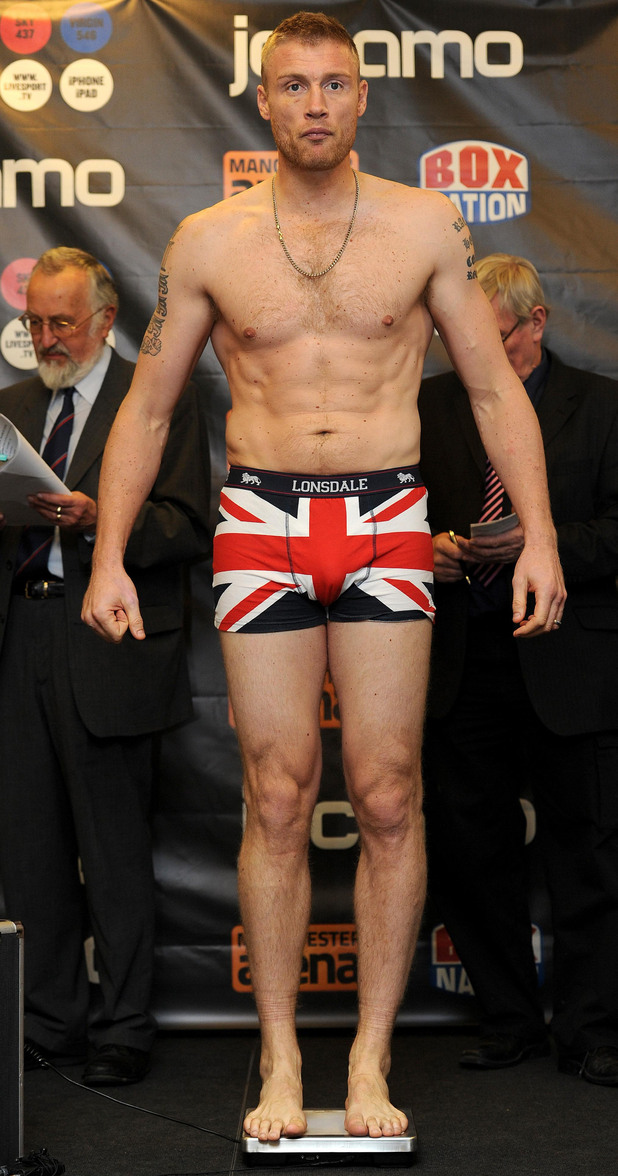 Andrew Flintoff during the weigh in at The Hilton Hotel, Manchester.
