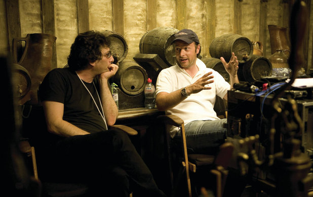 Producer Neil Gaiman and director Matthew Vaughn on the set of 'Stardust'