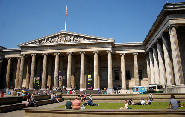 General view of the entrance to the British Museum on Great Russell Street in London