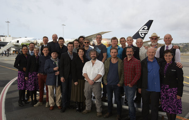 The cast and crew of 'The Hobbit' land in New Zealend for the world premiere of the movie