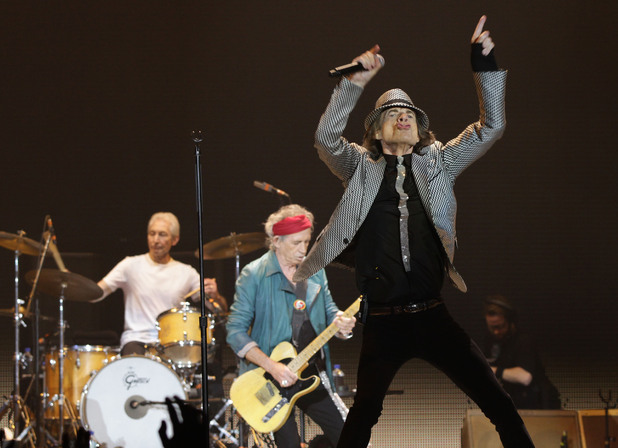 Charlie Watts, Keith Richards and Mick Jagger of The Rolling Stones performing at the O2 Arena in London, as part of their 50th anniversary series of concerts