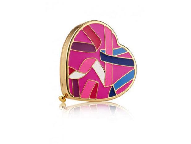 Heart-shaped Pink Ribbon compact