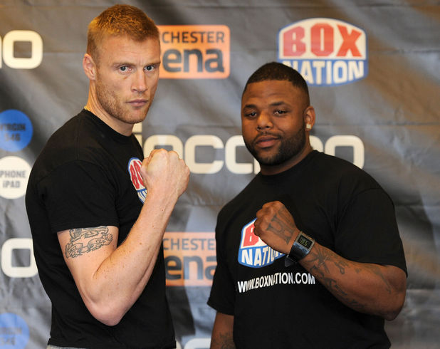 Andrew Flintoff head to head with Richard Dawson during the weigh in at The Hilton Hotel, Manchester.