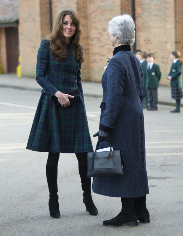 Kate Middleton, Duchess of Cambridge, St Andrew's, tartan coat-dress by Alexander McQueen,