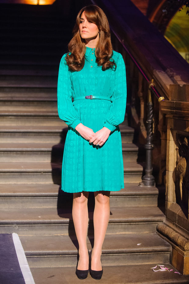 Duchess of Cambridge, Kate Middleton, Natural History Museum, Mulberry silk dress