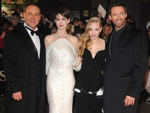Russell Crowe, Anne Hathaway, Hugh Jackman and Amanda Seyfried arrives at the premiere of Les Miserables at the Empire Leicester Square, London, UK