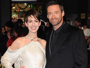 Anne Hathaway and Hugh Jackman arrives at the premiere of Les Miserables at the Empire Leicester Square, London, UK