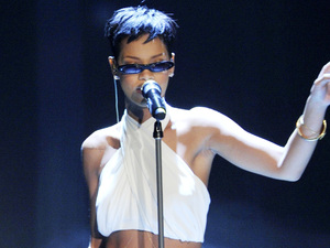 Rihanna performing on the German ZDF TV show 'Wetten, Dass...' at Rothaus Arena.