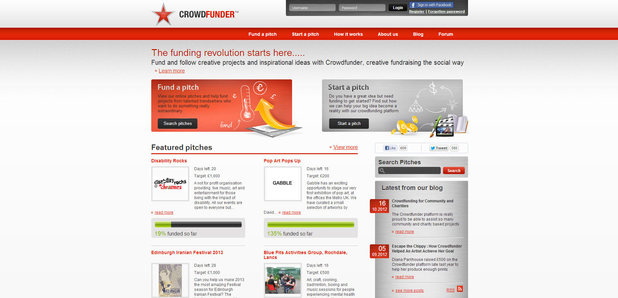 Crowdfunder  website screenshot