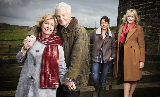 Last Tango In Halifax: Celia (ANNE REID), Alan (DEREK JACOBI), Gillian (NICOLA WALKER), Caroline (SARAH LANCASHIRE)