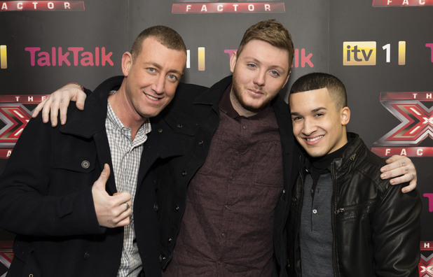 The X Factor Finalists and Judges press conference. TV Programme, Manchester. - 06 Dec 2012 Christopher Maloney, James Arthur and Jahmene Douglas 6 Dec 2012