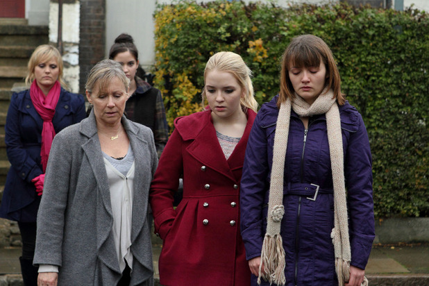 Tanya, Lauren, Carol, Abi and Alice after Derek's death