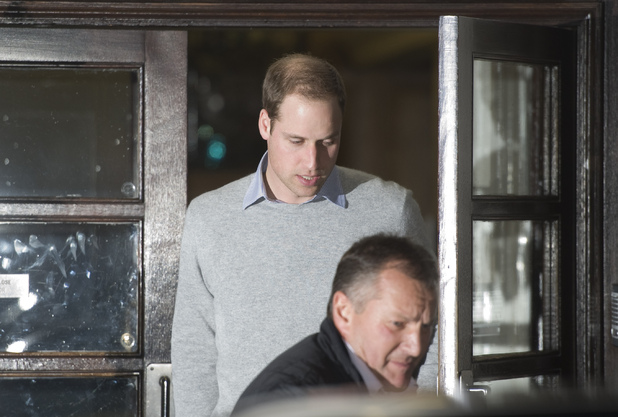 Prince William, The Duke of Cambridge, leaves the King Edward VII Hospital in Central London where The Duchess of Cambridge has been admitted reportedly for a pre-natal check-up.
