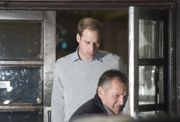 Prince William, The Duke of Cambridge, leaves the King Edward VII Hospital in Central London where The Duchess of Cambridge has been admitted reportedly for a pre-natal check-up.Featuring: Prince William
