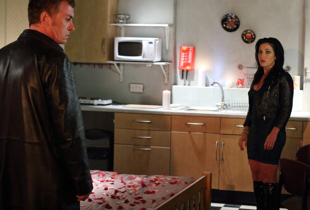 Alfie confronts Kat at the bedsit.