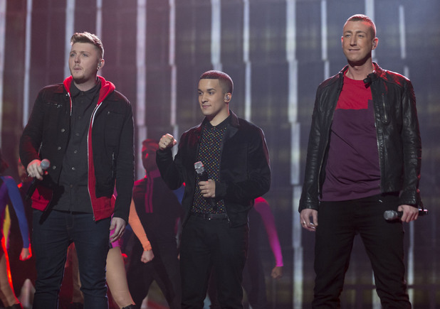 'The X Factor Final Live' TV Programme, Manchester Central Convention Centre, Manchester, Britain. - 08 Dec 2012 James Arthur, Jahmene Douglas and Christopher Maloney