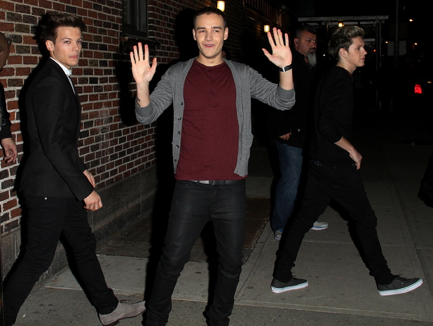Louis Tomlinson, Liam Panye, Niall HoranOne Direction exits the Ed Sullivan Theatre after taping for the  'Late Show with David Letterman'