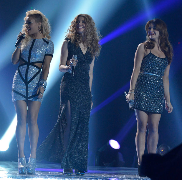 The X Factor Final: Jade, Melanie and Carolynne.