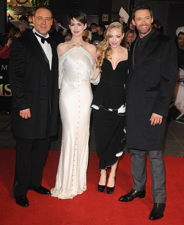 Russell Crowe, Anne Hathaway, Amanda Seyfried and Hugh Jackman