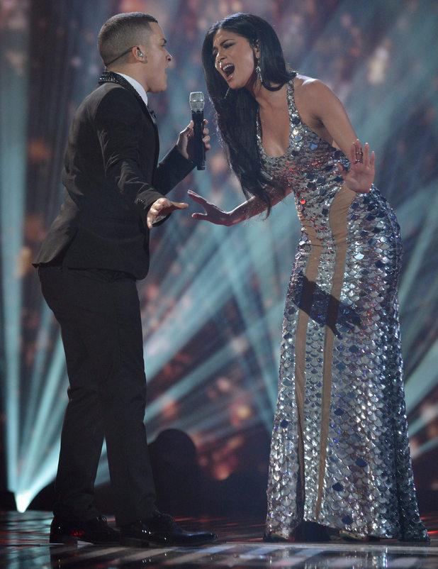 'The X Factor Final Live' TV Programme, Manchester Central Convention Centre, Manchester, Britain. - 08 Dec 2012 Jahmene Douglas and Judges : Nicole Scherzinger 8 Dec 2012