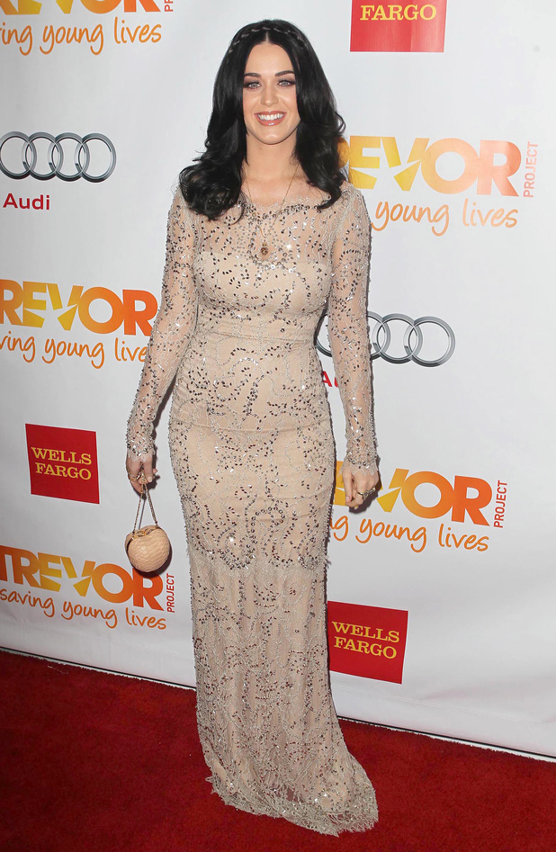 Katy Perry wears nude dress at Trevor Live honours