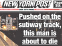 Tabloid sparks Twitter outcry by posting picture of man about to be hit by train.