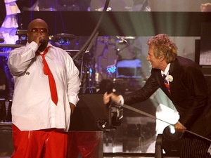 Cee Lo Gren and Rod Stewart perform 'Merry Christmas, Baby' in Las Vegas.