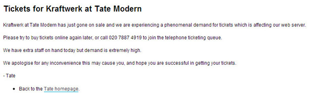 Kraftwerk concert tickets demand crashes Tate Modern website - screenshot